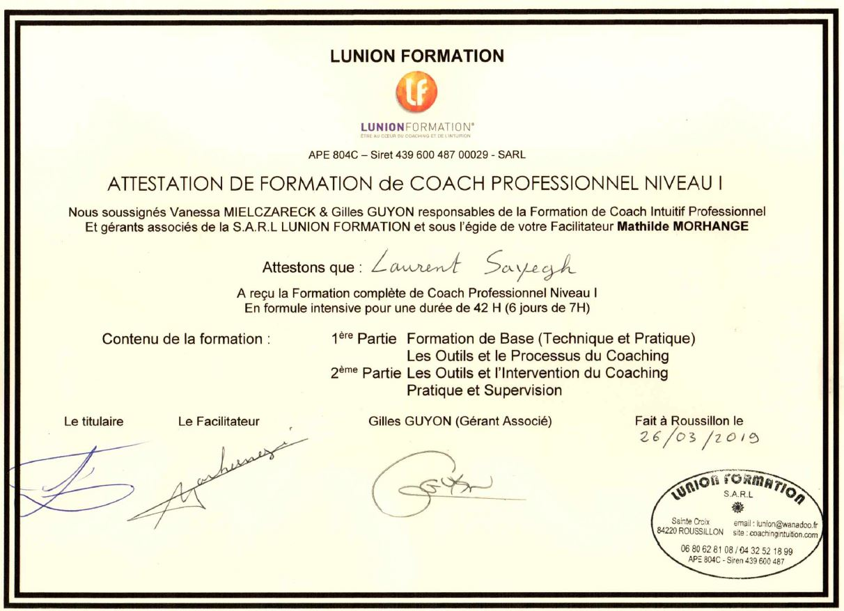 diplome coach professionnel